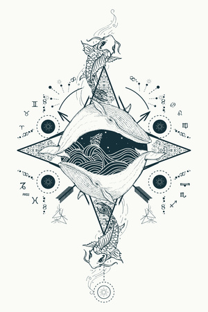 Two whales in sea wind rose compass mystical tattoo vector. Japanese carp in water tattoo. Travel, adventure, outdoors, tattoo symbol. Whale tattoo for hipsters, travelers. Storm at sea marine tattoo Vettoriali