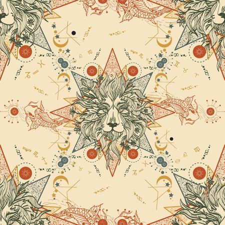 astrologer: Medieval seamless pattern mystical lion and carp. Astrological pattern. Symbols of zodiac, esoterics astrology background. Horoscope seamless background. Lion and carp medieval antique style pattern