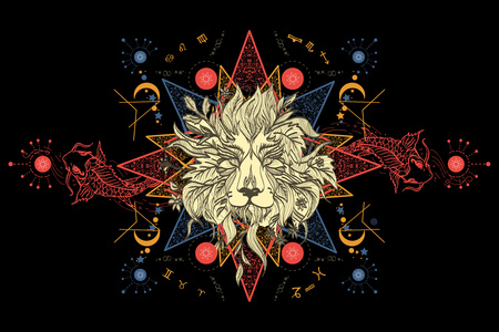 occultism: Lion and carps tattoo art, mystical geometric alchemy symbol. Concept of magic, science, astrology. Mystic Lion sketch tattoo art. Alchemy, religion, spirituality, occultism, tattoo lion art