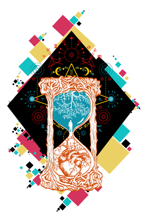 life and death: Hourglass color tattoo art. Concept time. Hourglass mystical symbols life and death.  Man in hourglass tattoo. Evergreen heart. Concept time color hourglass tattoo Illustration