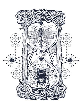 Abeja y libélula en el reloj de arena tatuaje mística. Dibujado a mano símbolos místicos e insectos. Libélula y boceto de abeja tatuaje. Alchemy, religión, ocultismo arte del tatuaje de reloj de arena, libros para colorear