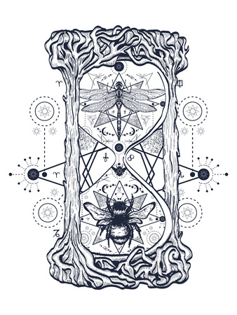 Bee and dragonfly in the hourglass mystical tattoo. Hand drawn mystical symbols and insects. Dragonfly and bee tattoo sketch. Alchemy, religion, occultism hourglass tattoo art, coloring books Illustration