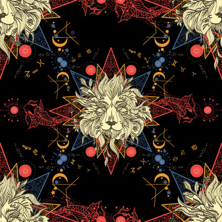 중세 원활한 패턴 신비로운 사자와 잉어. 점성 학 패턴입니다. 조디악, esoterics 점성술 배경 기호입니다. 사자와 잉어 중세 골동품 스타일 패턴입니다.  일러스트