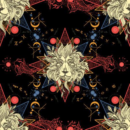 Middeleeuwse naadloos patroon mystieke leeuw en karper. Astrologische patroon. Symbolen van de dierenriem, esoterie astrologie achtergrond. Leeuw en karper middeleeuwse antieke stijl patroon. Horoscoop naadloze achtergrond. Stock Illustratie