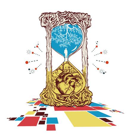 모래 시계 문신 예술, 삶과 죽음 벡터의 상징. 상록 심장. 모래 시계 신비로운 기호 삶과 죽음입니다. 연금술, 종교, 영성, 신비주의, 모래 시계 문신 예