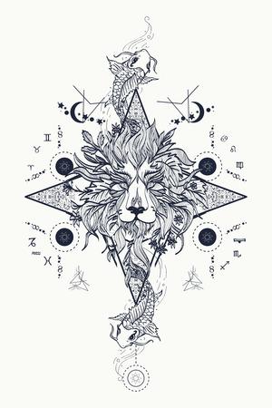 Mystic lion and carp, medieval astrological symbols, occult tattoo. Ornamental Tattoo Lion Head. Lion head tattoo design. Alchemy, religion, spirituality, occultism, tattoo lion art, coloring books.
