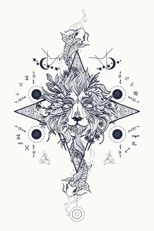 freemasonry: Mystic lion and carp, medieval astrological symbols, occult tattoo. Ornamental Tattoo Lion Head. Lion head tattoo design. Alchemy, religion, spirituality, occultism, tattoo lion art, coloring books.
