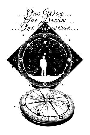 Astronauta e Compass tatuaggio. Senso unico. Un sogno. Un universo. Bussola e tatuaggio viaggiatore. Spazio profondo. simboli magici viaggiatore, sognatore, l'avventura, la meditazione tatuaggio. bussola spazio arte del tatuaggio Archivio Fotografico - 66324115