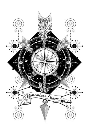 rose tattoo: Rose compass and crossed arrows tattoo. Boho style, adventure, travel. Magical symbols traveler, dreamer, hunting, astrology, alchemy, meditation tattoo. Rose compass art t-shirt design