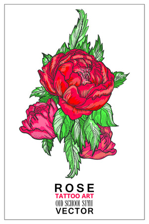 rose tattoo: Rose colored tattoo old school style vector. Symbol of love, emotion. Red Rose tattoo design element. Hand drawn rose flower stem with roses and leaves Illustration