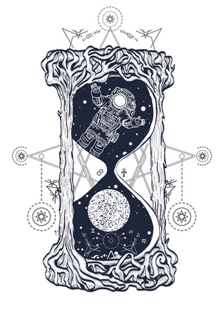 Astronaut floats in the hourglass art, mystic time symbol. Hourglass. Mysticism, spirituality, astrology and dreams symbols. Hourglass mystical symbols life and death tattoo Stock Illustratie