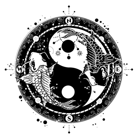 Yin en Yang tattoo art vector, twee Japanse karpers boho stijl, meditatie symbool, filosofie, harmonie