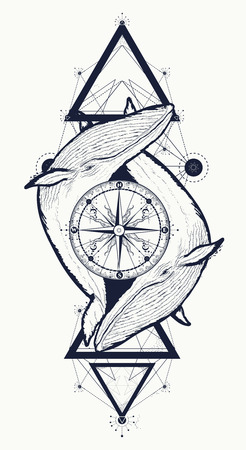 Two whales and rose compass tattoo geometric style. Adventure, travel, outdoors, meditation symbol