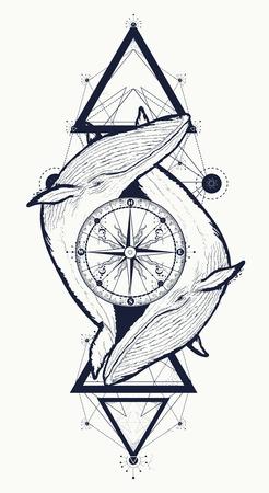 Due balene e rosa bussola tatuaggio stile geometrico. Avventura, viaggio, all'aperto, simbolo di meditazione