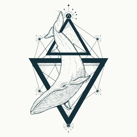 クジラのタトゥーの幾何学的なスタイル。夢の冒険の神秘的なシンボルです。創造的な幾何学的なクジラのタトゥー アート t シャツ プリント デザ