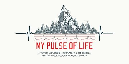 Bergen tattoo art, t-shirt ontwerp, slogan mijn pols van het leven. Symbool reizen, toerisme, extreme sporten en rotsklimmen, tribal stijl.