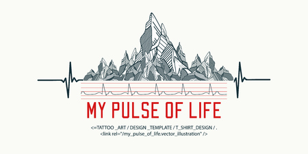 Mountains tattoo art, t-shirt design, slogan my pulse of life. Symbol travel, tourism, extreme sports and rock climbing, tribal style. Reklamní fotografie - 66780102