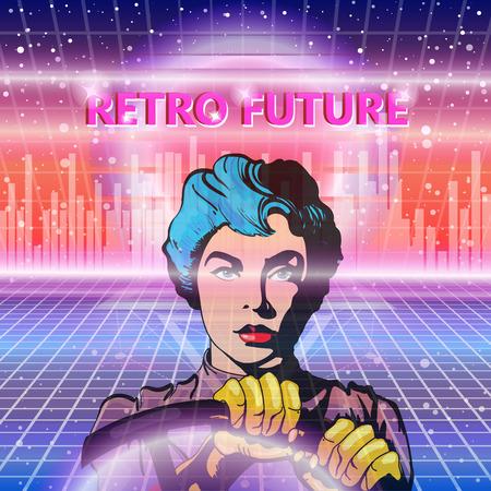 futuristic woman: Retro future, 80s style Sci-Fi Background. Futuristic woman driving time machine. Illustration