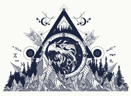 Eagle tattoo kunst, bergen, gekruiste pijlen, bos. Strologische symbolen, etnische stijl, valk in rotsen. Creatief t-shirt ontwerp, spiritualiteit, boho, magisch symbool.