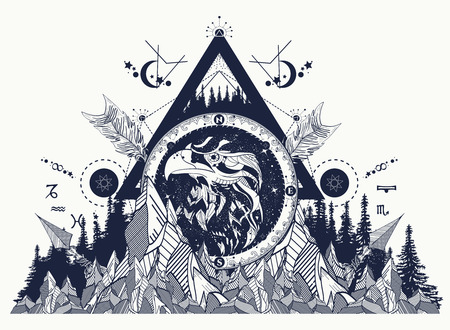 Eagle tatueringskonst, berg, korsade pilar, skog. ? Strologiska symboler, etnisk stil, falk i stenar. Kreativ t-shirtdesign, andlighet, boho, magisk symbol. Stockfoto - 66780097