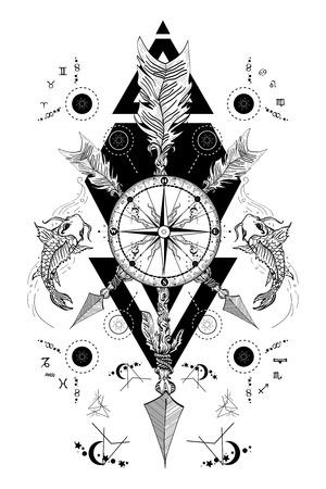 Rose compass and crossed arrows tattoo. Boho style, adventure, travel. Magical symbols traveler, dreamer, hunting, astrology, alchemy, meditation tattoo. Rose compass art t-shirt design