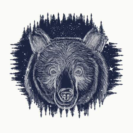 Bear tattoo art, symbol travel and tourism. Portrait grizzly. Symbols hipsters travelers. Portrait of bear in night forest tribal tattoo and t-shirt design. Abstract head of bear Ilustração