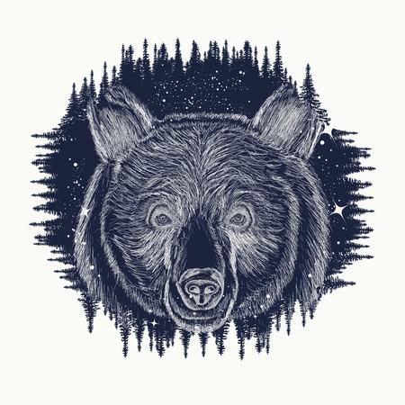 Bear tattoo art, symbool en toerisme. Portret grizzly. Symbolen Hipsters reizigers. Portret van een beer in de nacht bos tribal tattoo en t-shirt design. Abstract hoofd van de beer Stock Illustratie