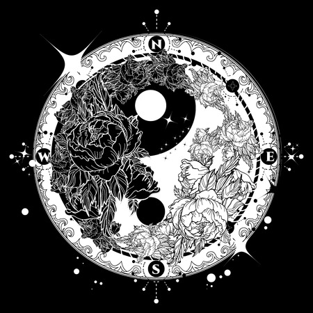 Yin and Yang tattoo art vector. Boho style mandala Yin Yang, meditation, philosophy, harmony symbol. Floral Yin Yang meditative tattoo art. Black and white roses on dark background. Çizim