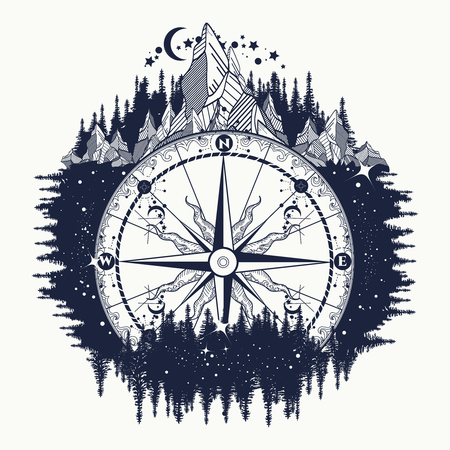 Mountain antique compass and wind rose tattoo art. Adventure, travel, outdoors, symbol. Tattoo for travelers, climbers, hikers. Compass in the night forest tattoo boho style, t-shirt design