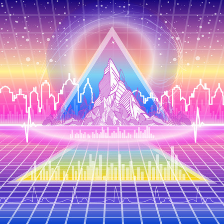 Retro futuristic background. Neon Poster. 80s Retro Sci-Fi Background futuristic city fantastic landscape triangle pyramid 80s style