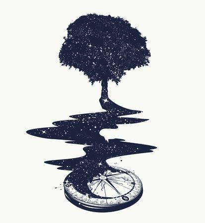 L'arte magica albero del tatuaggio, il fiume di stelle, simbolo della psicologia, turismo, viaggi. il concetto surrealista della vita e dell'immortalità. Stella Compass. T-shirt design Archivio Fotografico - 66780168