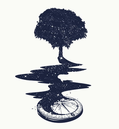 Magical tree tattoo art, river of stars, psychology symbol, tourism, travel. Surrealist concept of life and immortality. Star Compass. T-shirt design Stock Illustratie