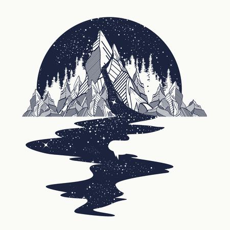 Río de estrellas fluye de las montañas, el arte del tatuaje. El espacio infinito, símbolos de meditación, los viajes, el turismo. concepto de universo infinito. diseño de la camiseta, gráficos surrealistas