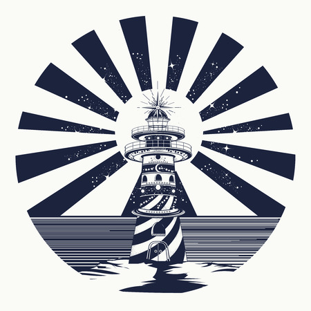 Lighthouse tattoo art, symbol of meditation, hiking, adventures. Lighthouse, searchlight tower for maritime navigational guidance. Lighthouse tattoo template in boho style t-shirt design Vettoriali