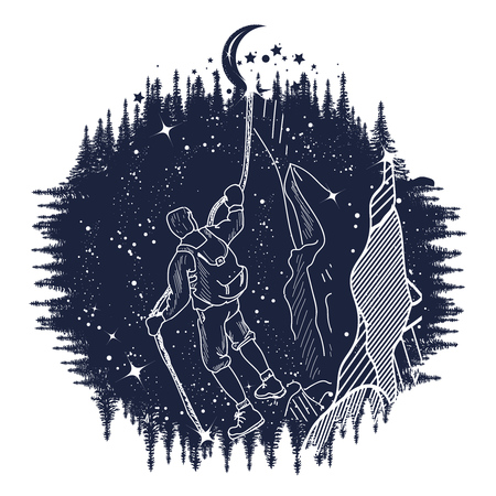 man on the moon: Mountain climber silhouette tatto art, man climbing on rock, moon on a rope. T-shirt design. symbol travel, tourism, adventure.