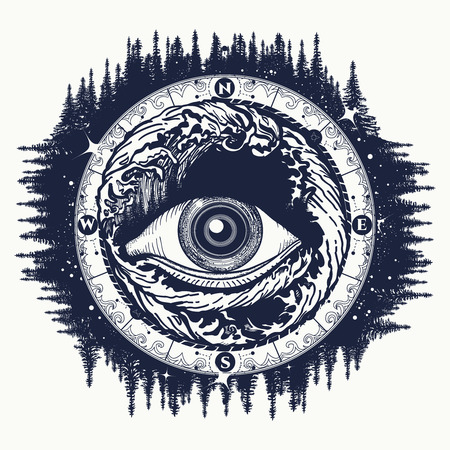 illuminati: All seeing eye tattoo, tourism in a mystical style vector. Alchemy, spirituality, religion, occultism, esoteric tattoo art. Eye of the storm art t-shirt design