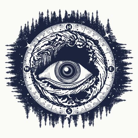 Todo lo ve el ojo del tatuaje, el turismo en un vector de estilo mística. Alquimia, espiritualidad, religión, ocultismo, el arte del tatuaje esotérico. El ojo de la tormenta el arte del diseño de camiseta