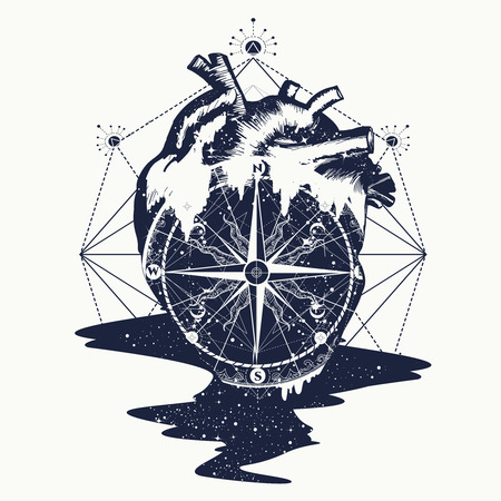 Compass in the heart steampunk tattoo, geometric style. Symbol of travel and love vector. Surreal anatomical heart tattoo boho style, t-shirt design. adventure, travel, outdoors. Love tattoo concept