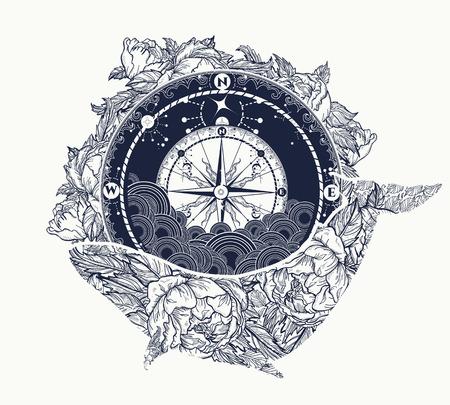 アンティーク コンパスと花クジラはタトゥー アートです。夢の冒険の神秘的なシンボルです。コンパスとクジラ t シャツ デザイン。旅行、冒険、
