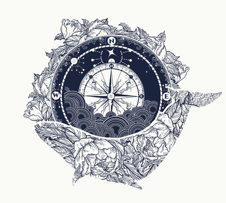 Antique compass and floral whale tattoo art. Mystical symbol of adventure, dreams. Compass and Whale t-shirt design. Travel, adventure, outdoors symbol whale, marine tattoo Reklamní fotografie - 67158624