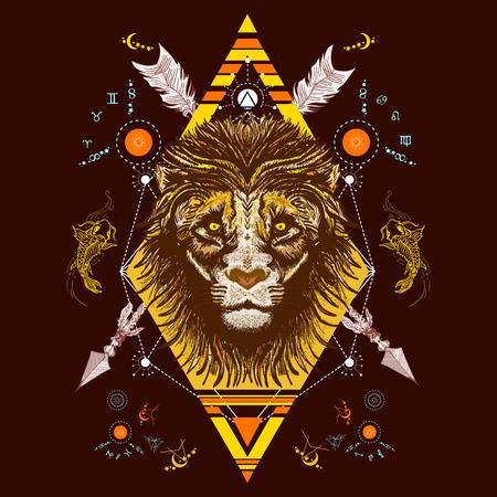 Stile tribale del tatuaggio di colore del leone, vettore di disegno della maglietta. Leone mistico e tatuaggio occulto di carpa. Alchimia, religione, spiritualità, occultismo, tatuaggio leone totem art Archivio Fotografico - 67158626
