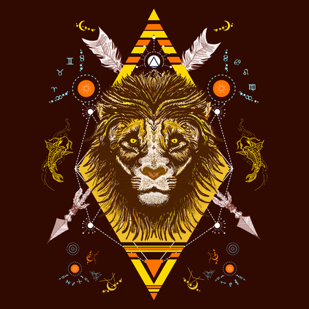 Lion color tattoo tribal style, t-shirt design vector. Mystic lion and carp occult tattoo. Alchemy, religion, spirituality, occultism, tattoo lion totem art