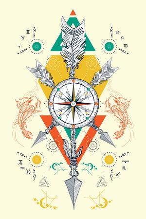 desig: Rose compass and crossed arrows tattoo. Magical symbols traveler, dreamer, hunting, astrology, alchemy, meditation tattoo. Rose compass boho art t-shirt desig Illustration