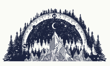 山アンティーク コンパスと風薔薇のタトゥー。アドベンチャー、旅行、屋外アートのシンボル。自由奔放に生きるスタイル、t シャツのデザインです。コンパスや山々 の神秘的なタトゥー ベクターイラストレーション