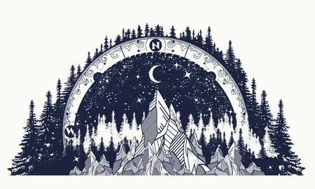 Berg antiek kompas en wind roos tattoo. Avontuur, reizen, buitenshuis kunst symbolen. Boho stijl, t-shirt ontwerp. Kompas en bergen mystieke tattoo
