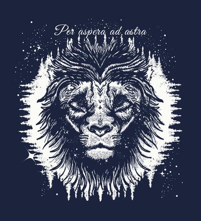 Leo in the night forest tattoo art. Slogan - per aspera ad astra. Star Lion in the night sky tattoo. Symbol travel, tourism, adventure. Lion t-shirt design Vektorové ilustrace