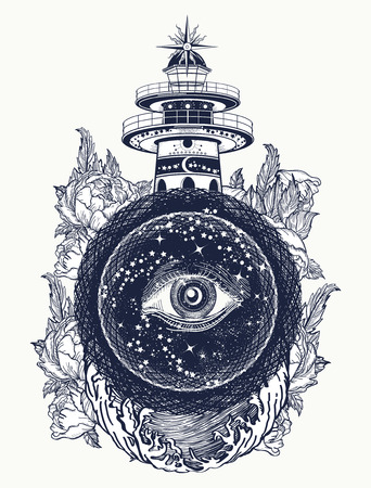 Lighthouse, roses and all seeing eye tattoo. Freemason, spiritual, illuminati, secret and mystical signs tattoo. Lighthouse in the storm, and the all seeing eye t-shirt design Vettoriali