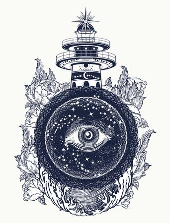Lighthouse, roses and all seeing eye tattoo. Freemason, spiritual, illuminati, secret and mystical signs tattoo. Lighthouse in the storm, and the all seeing eye t-shirt design Vectores