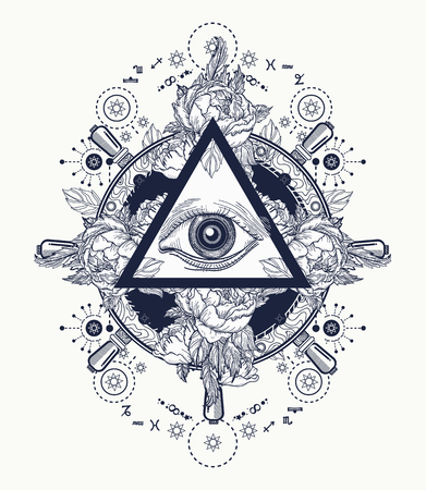 All seeing eye pyramid tattoo art. Freemason and spiritual symbols. Alchemy, medieval religion, occultism, spirituality and esoteric tattoo. Magic eye t-shirt design. Roses and the ship's helm