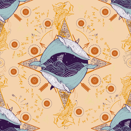 esoterics: Medieval seamless pattern mystical whale and carp. Astrological pattern. Symbols of zodiac, fish, esoterics astrology background. Whale and carp pattern. Horoscope seamless background